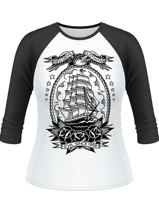 "Women's ""Mariner"" Raglan by Red Devil Clothing (Black/White) - www.inkedshop.com"