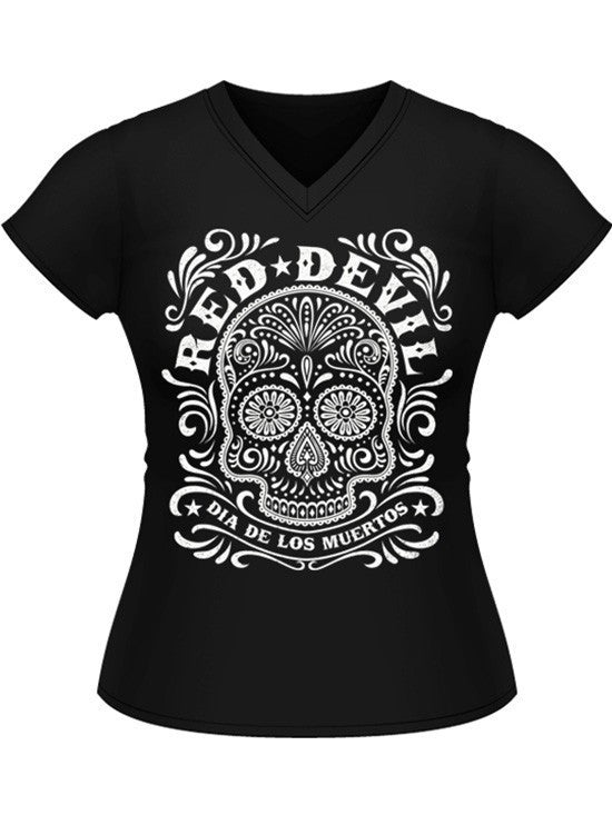 "Women's ""Sugar Skull"" Jrs V Neck Tee by Red Devil Clothing (Black) - www.inkedshop.com"