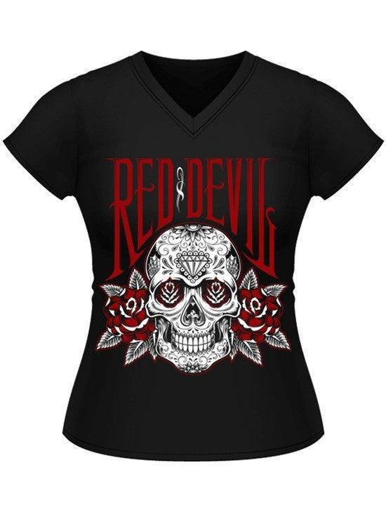 "Women's ""Roses for the Dead"" Jrs V Neck Tee by Red Devil Clothing (Black) - www.inkedshop.com"