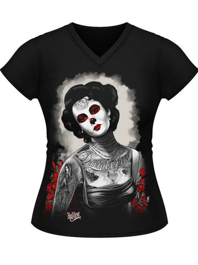 "Women's ""Diamonds Are Forever"" Jrs V Neck Tee by Red Devil Clothing (Black) - www.inkedshop.com"