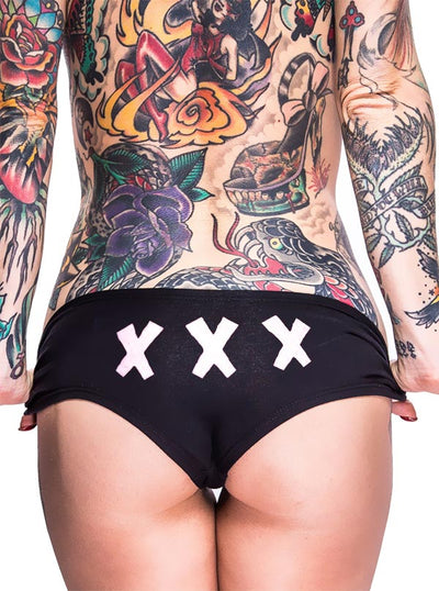 Women's XXX Booty Shorts by Cartel Ink