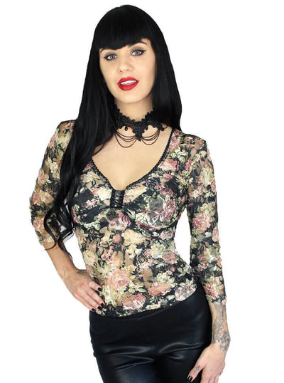 "Women's ""Lacette Gothic"" X-Back Sweetheart Blouse by Demi Loon (Floral) - www.inkedshop.com"