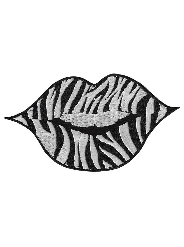 """Lips"" Embroidered Patch by Lethal Angel (Zebra) - www.inkedshop.com"