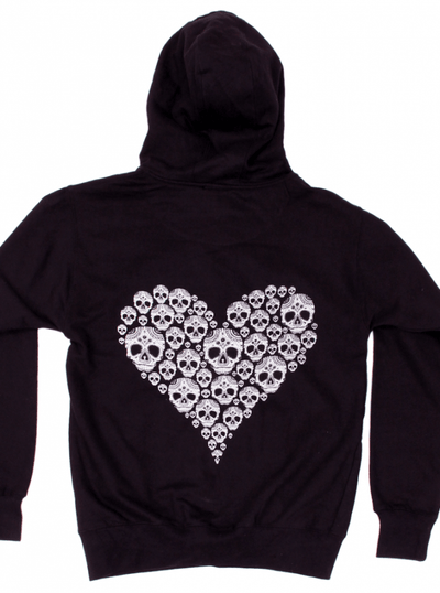 "Women's ""Skully Heart"" Zip-Up Hoodie by Cartel Ink (Black) - www.inkedshop.com"