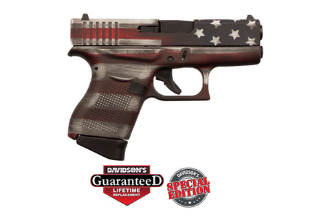 G43 G4 9MM Luger, 6+1, Fixed Sights, Cerakote Battleworn USA Flag , 2-6 Round Mags PI4350201CKFLAG