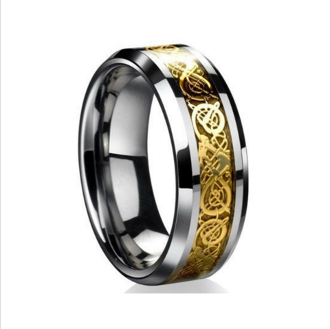 TUNGSTEN STEEL UNISEX CELTIC DRAGON RING