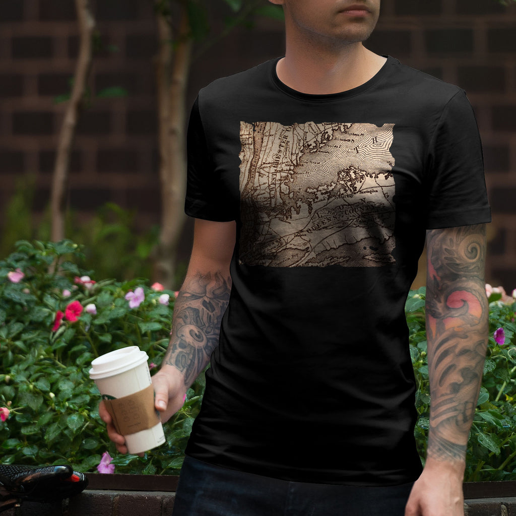Old Map Tee-T-Shirts-Plain Graphic Shirts
