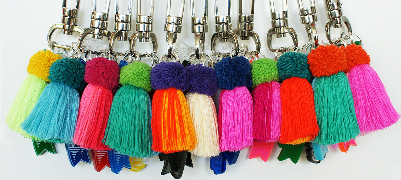 Brit and Bee PomPom Charm Keyrings