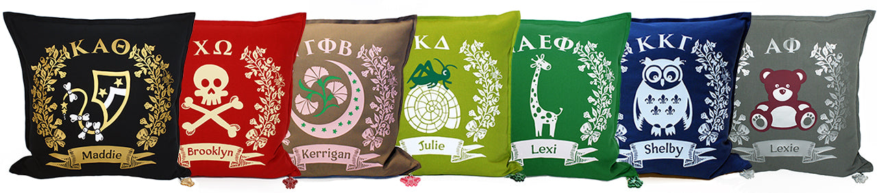 Brit and Bee Sorority Logo Cushions and Throw Pillows