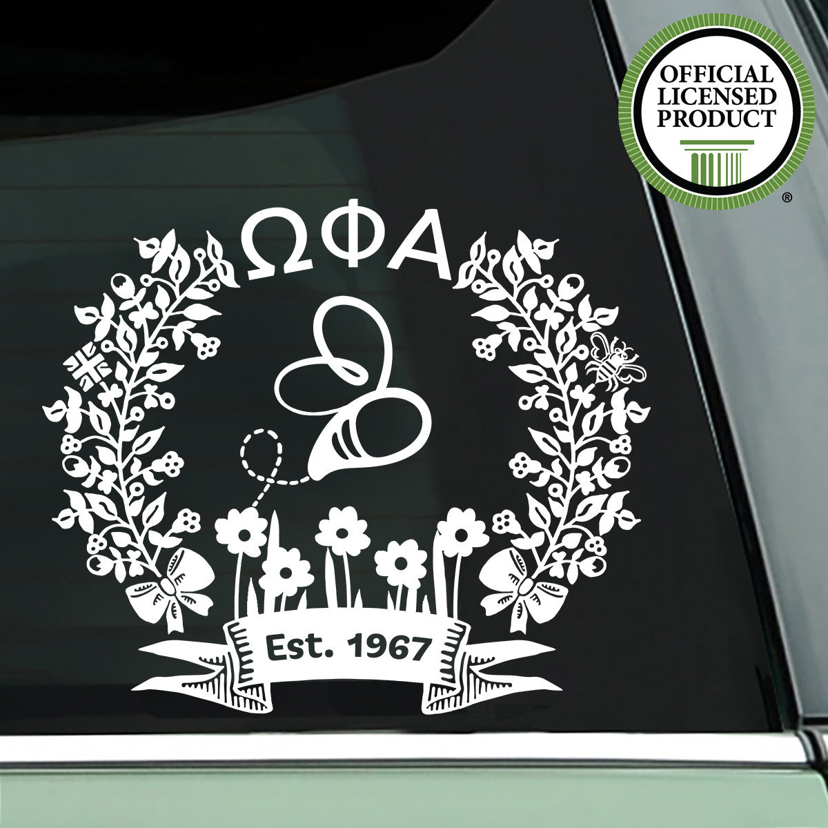 Brit and Bee Sorority '50' Decal - Omega Phi Alpha - White