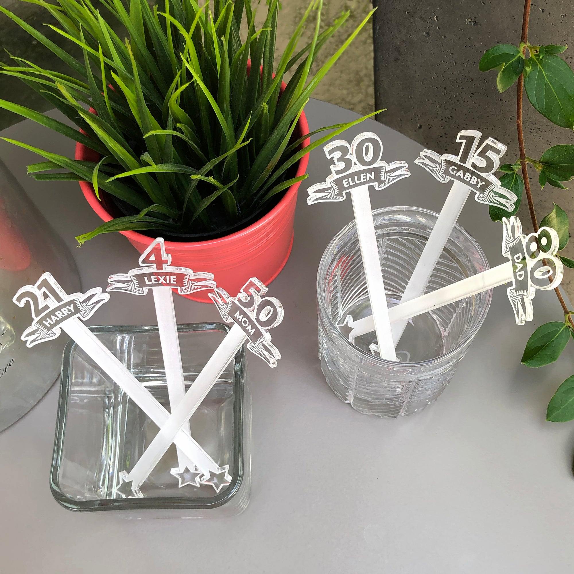 Custom Age and Name Swizzle Sticks | Brit and Bee