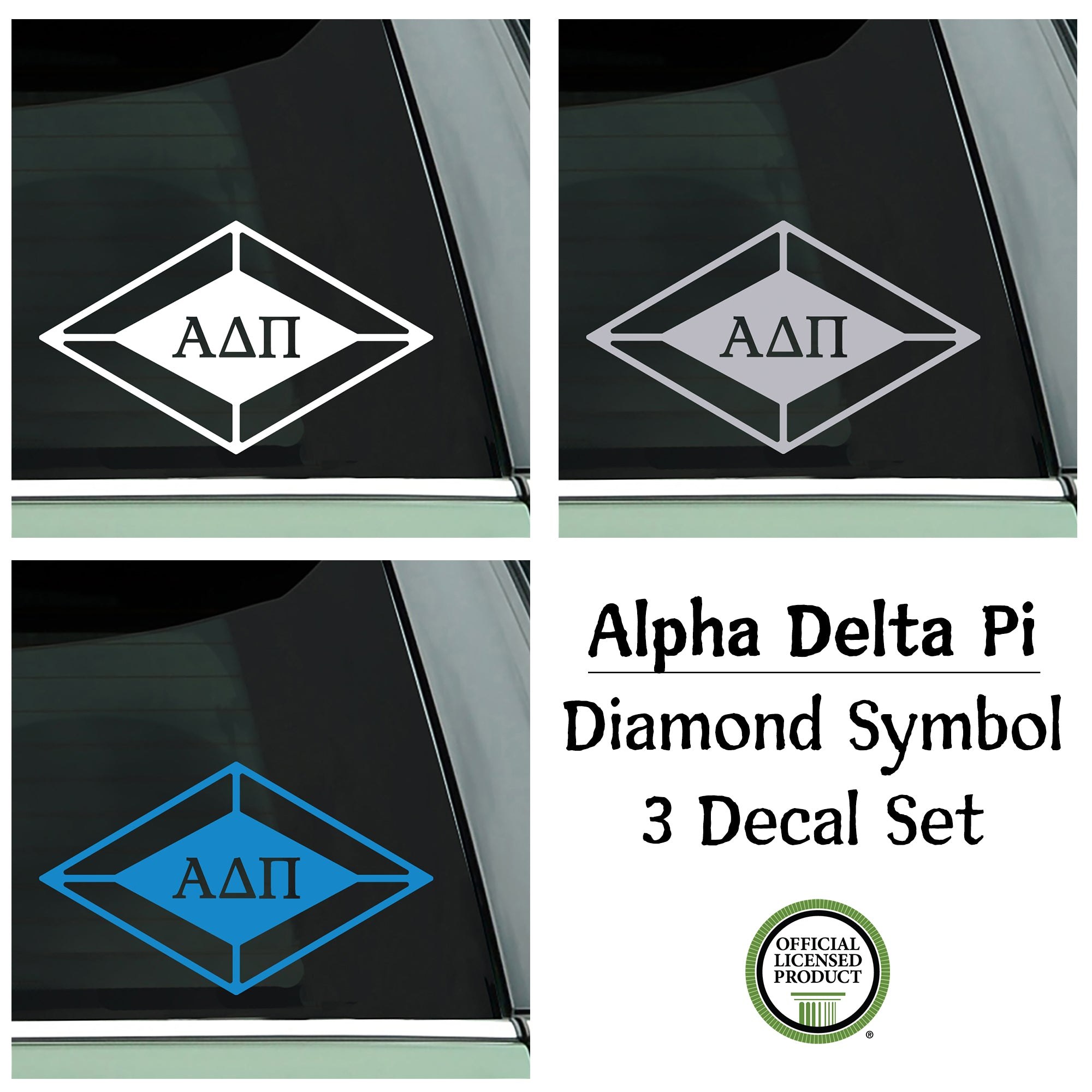 Alpha Delta Pi Decal Set - Diamond Symbol