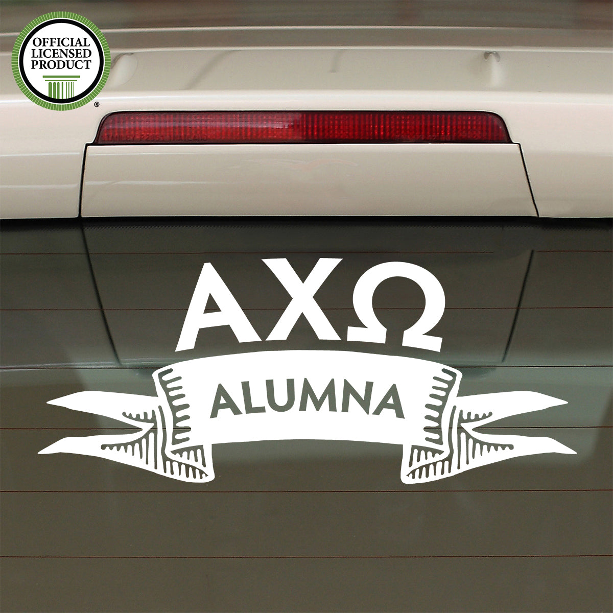 Brit and Bee Sorority Ribbon Alumna Decal - Alpha Chi Omega