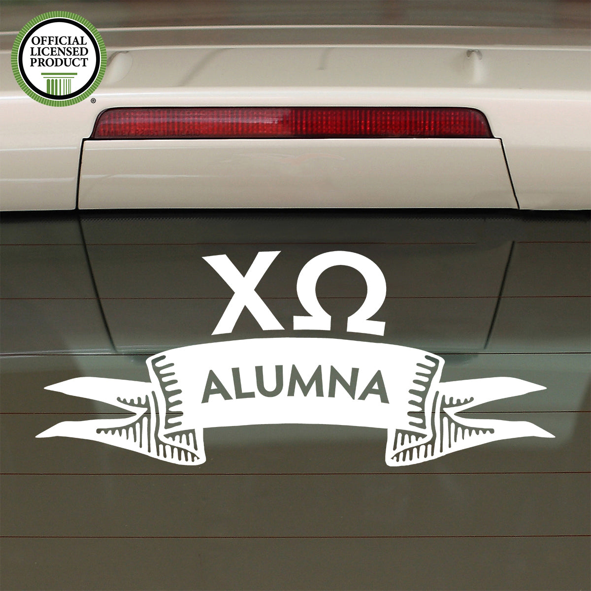 Brit and Bee Sorority Ribbon Alumna Decal - Chi Omega