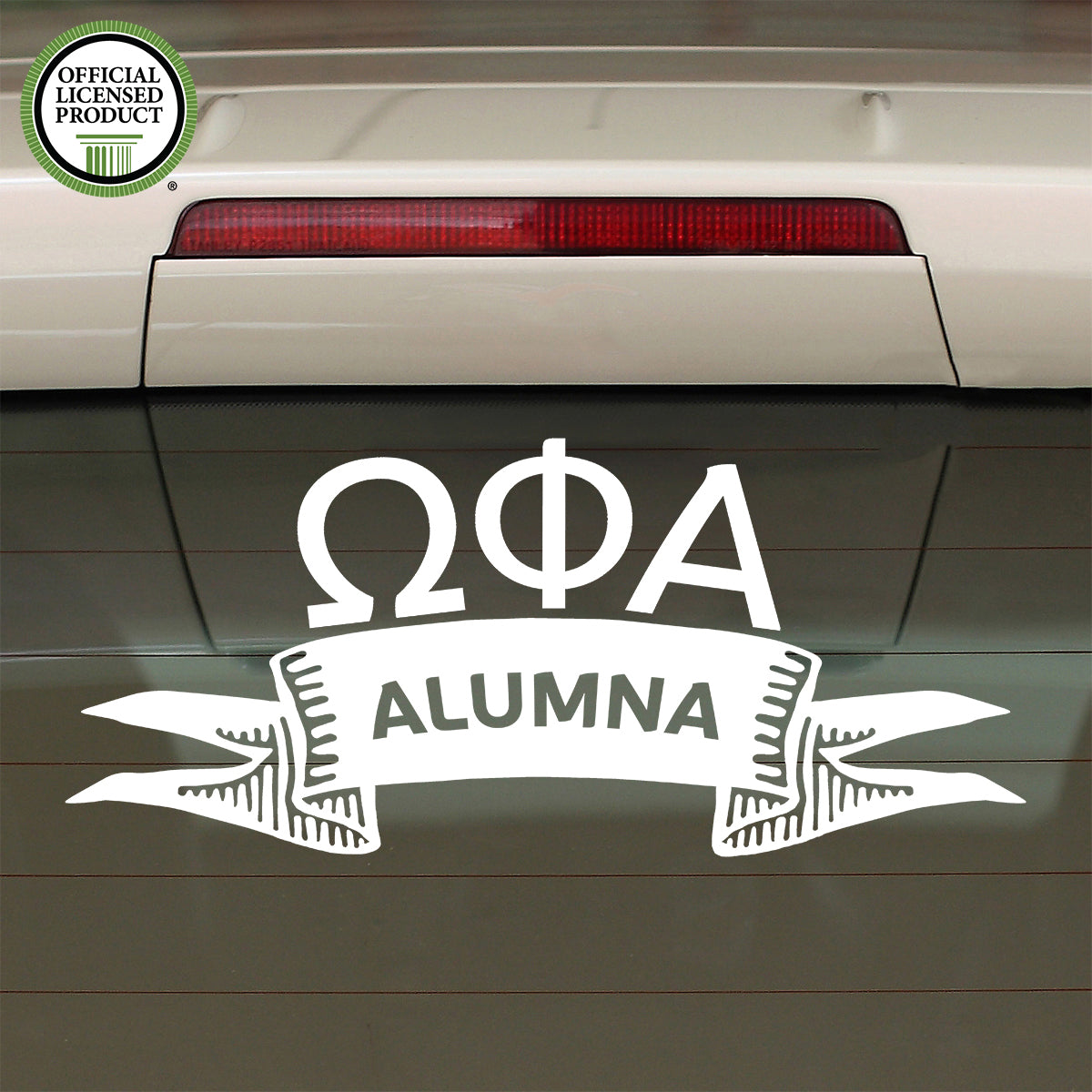 Brit and Bee Sorority Ribbon Alumna Decal - Omega Phi Alpha