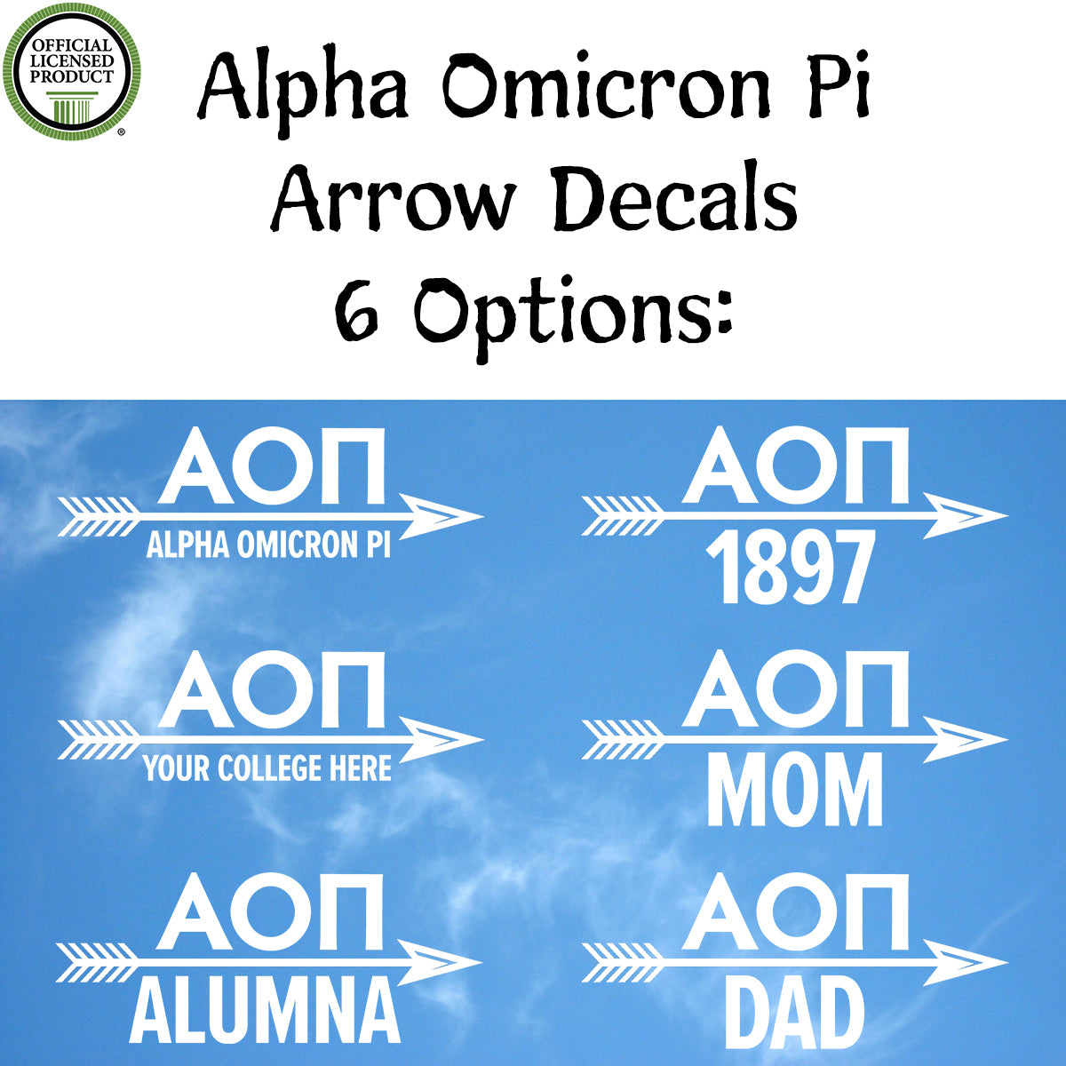 Brit and Bee Sorority Arrow Decal - Alpha Omicron Pi