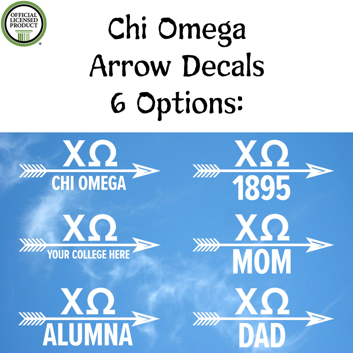 Brit and Bee Sorority Arrow Decal - Chi Omega