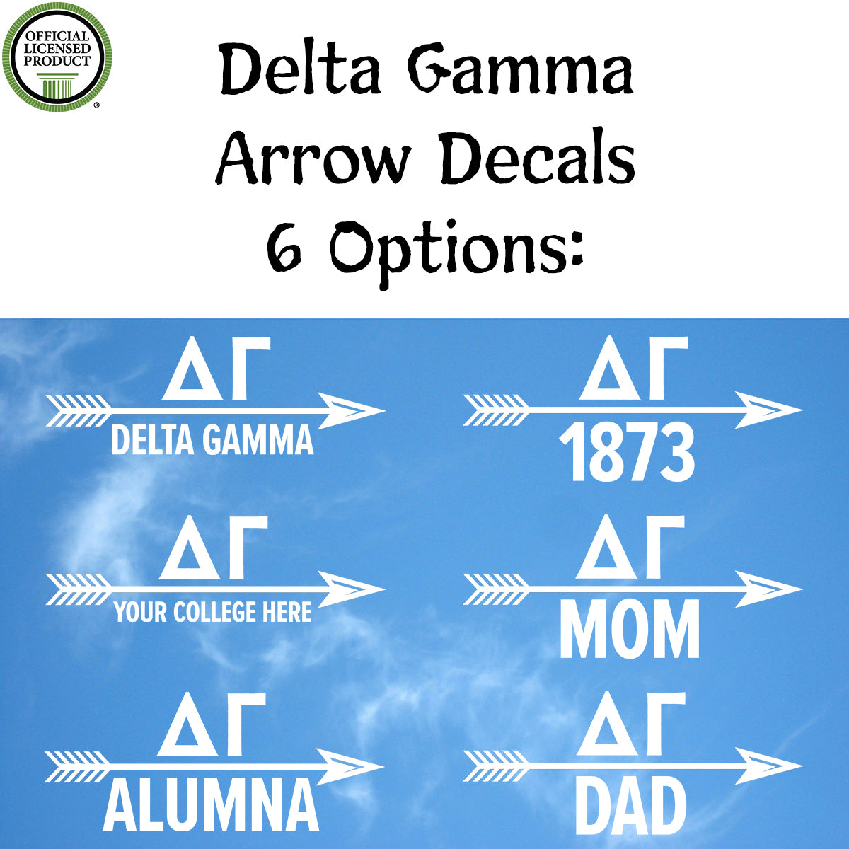 Brit and Bee Sorority Arrow Decal - Delta Gamma
