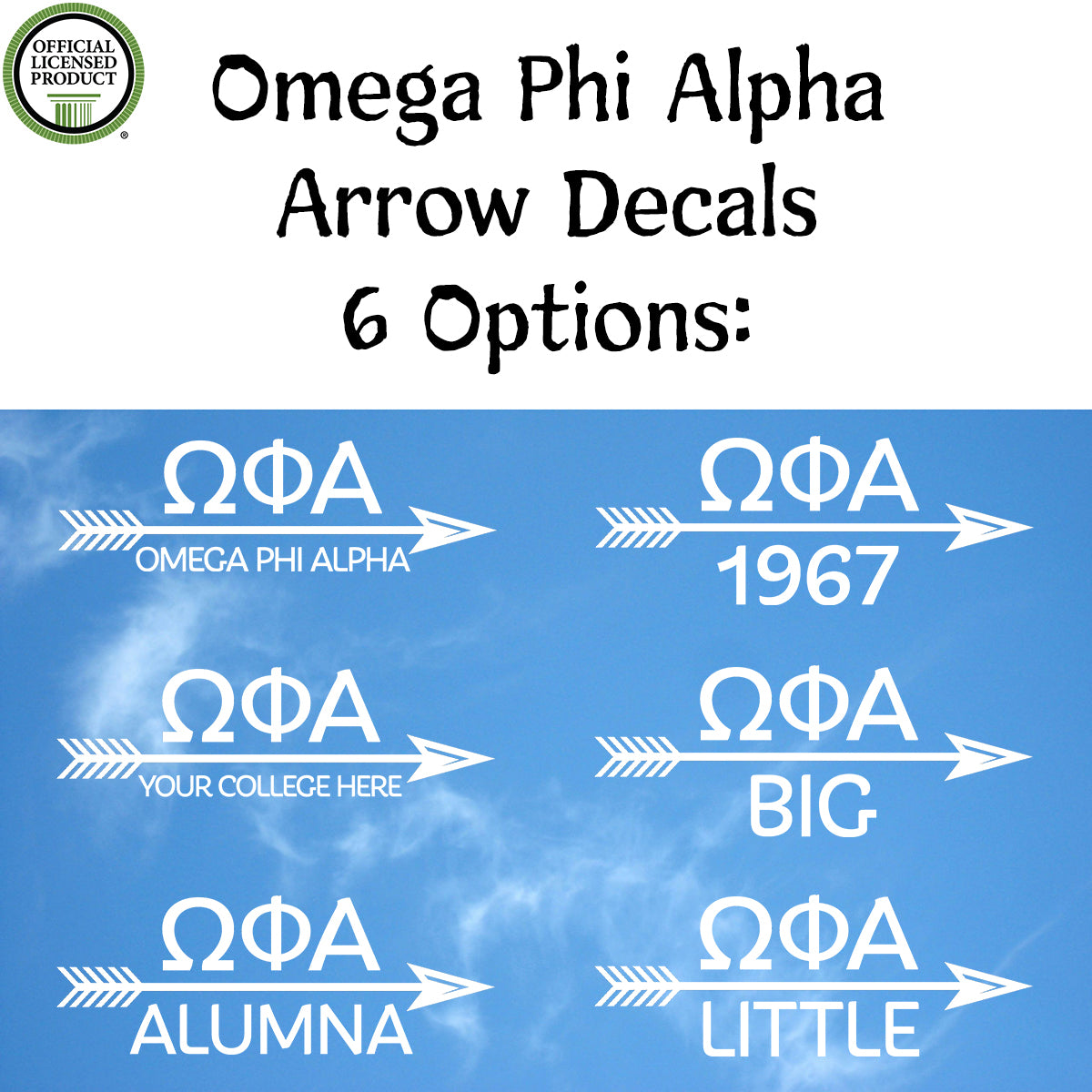 Brit and Bee Sorority Arrow Decal - Omega Phi Alpha