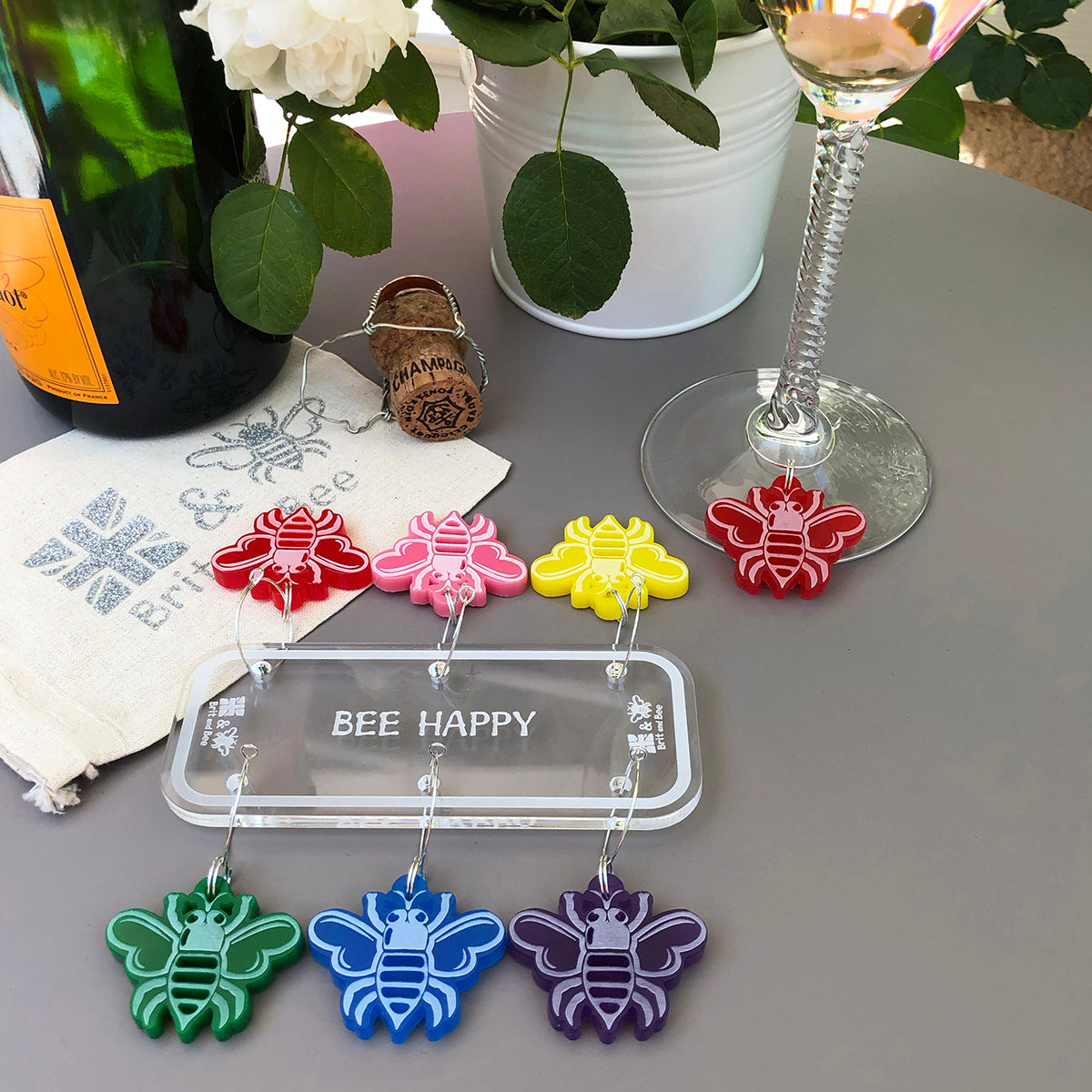 Bee Wine Charms - Set of 6 | Brit and Bee