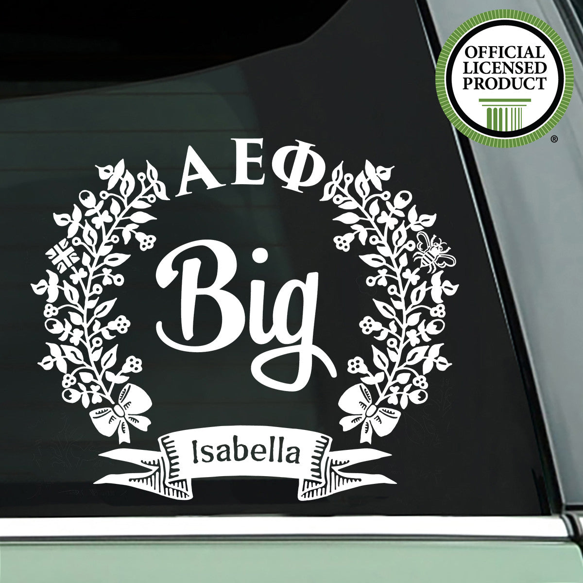 Brit and Bee Sorority Big Decal - Alpha Epsilon Phi - White