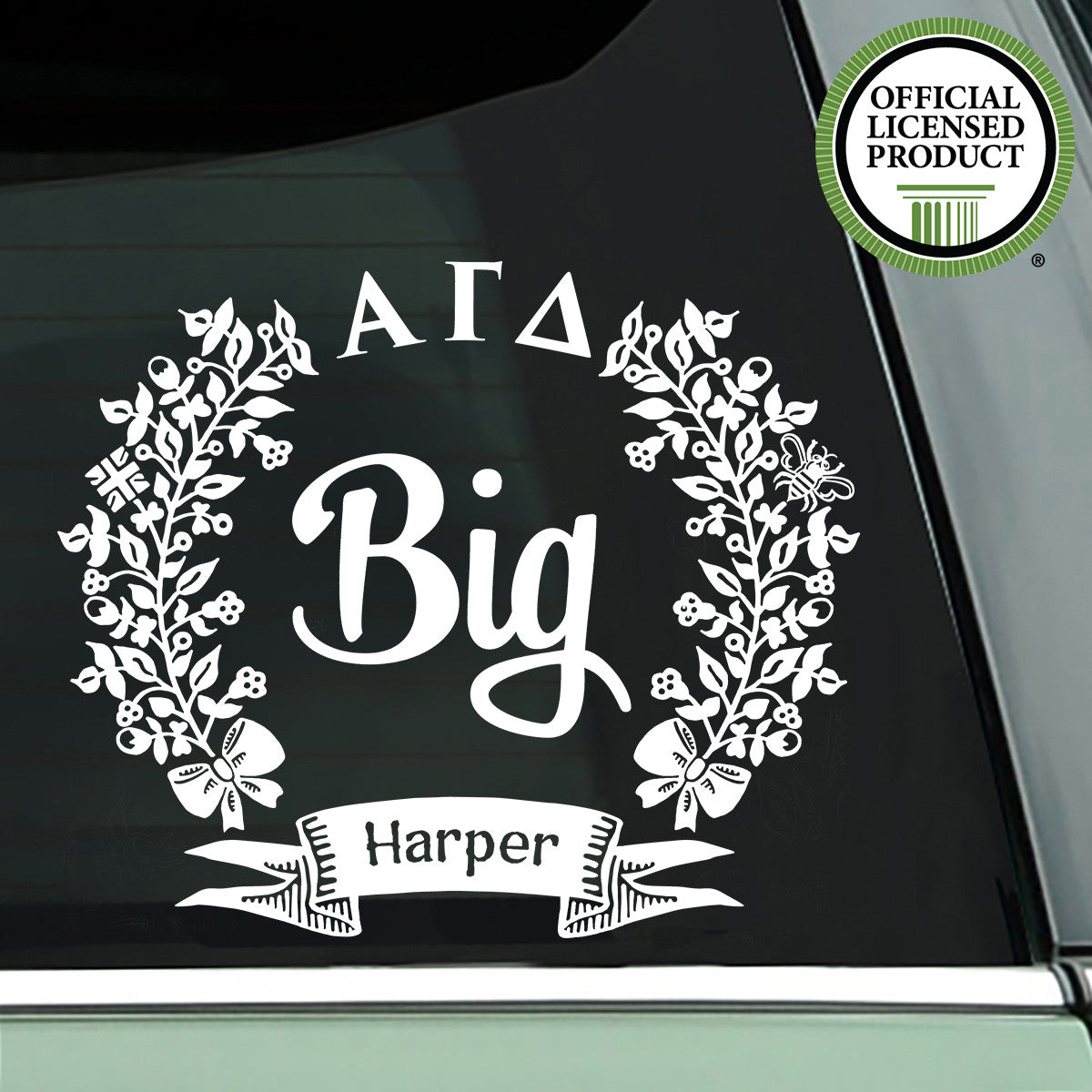 Brit and Bee Sorority Big Decal - Alpha Gamma Delta - White