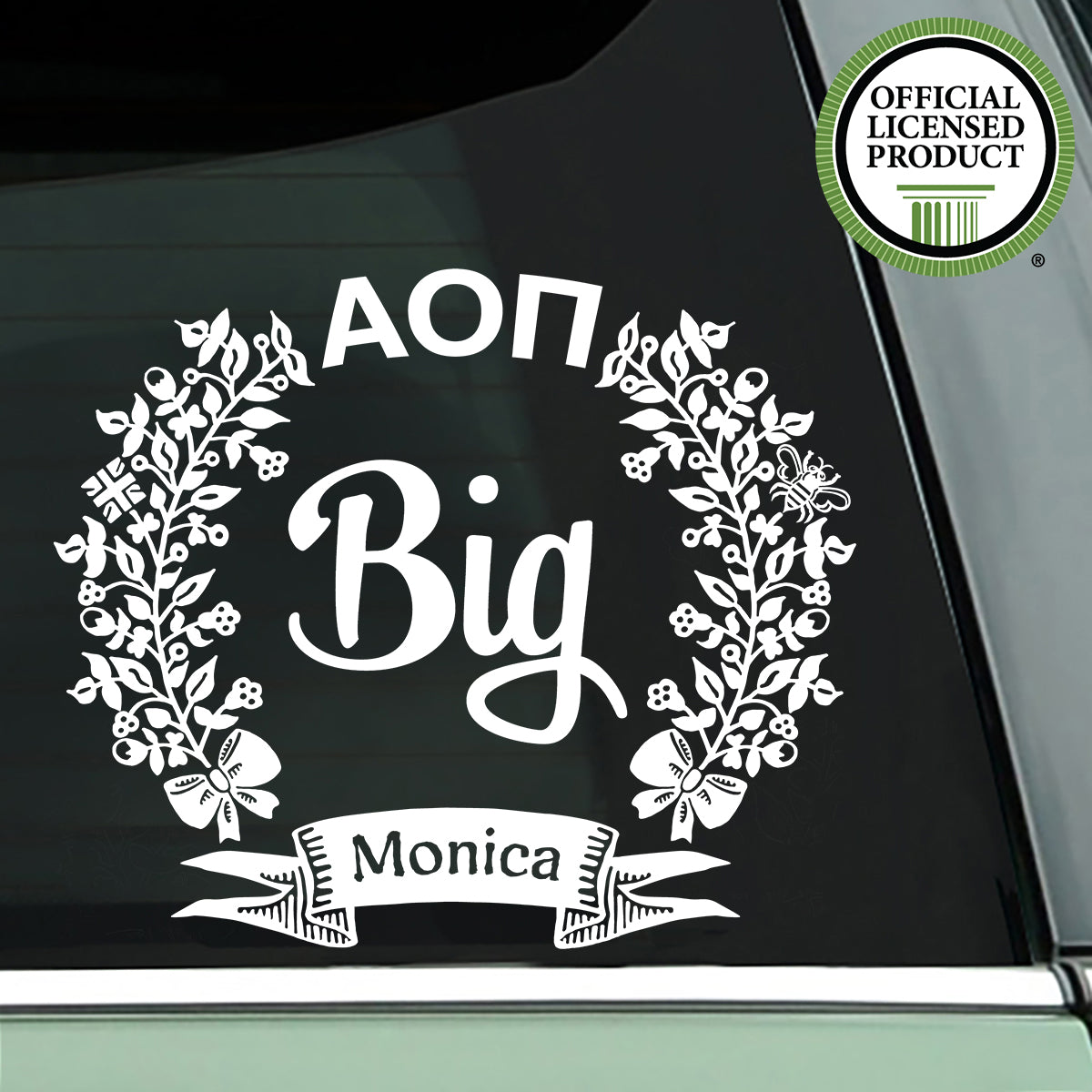 Brit and Bee Sorority Lil' Decal - Alpha Omicron Pi
