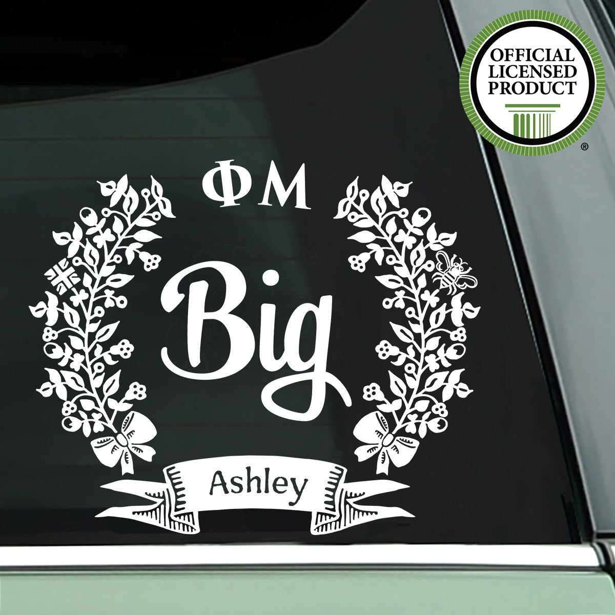 Brit and Bee Sorority Big Decal - Phi Mu - White