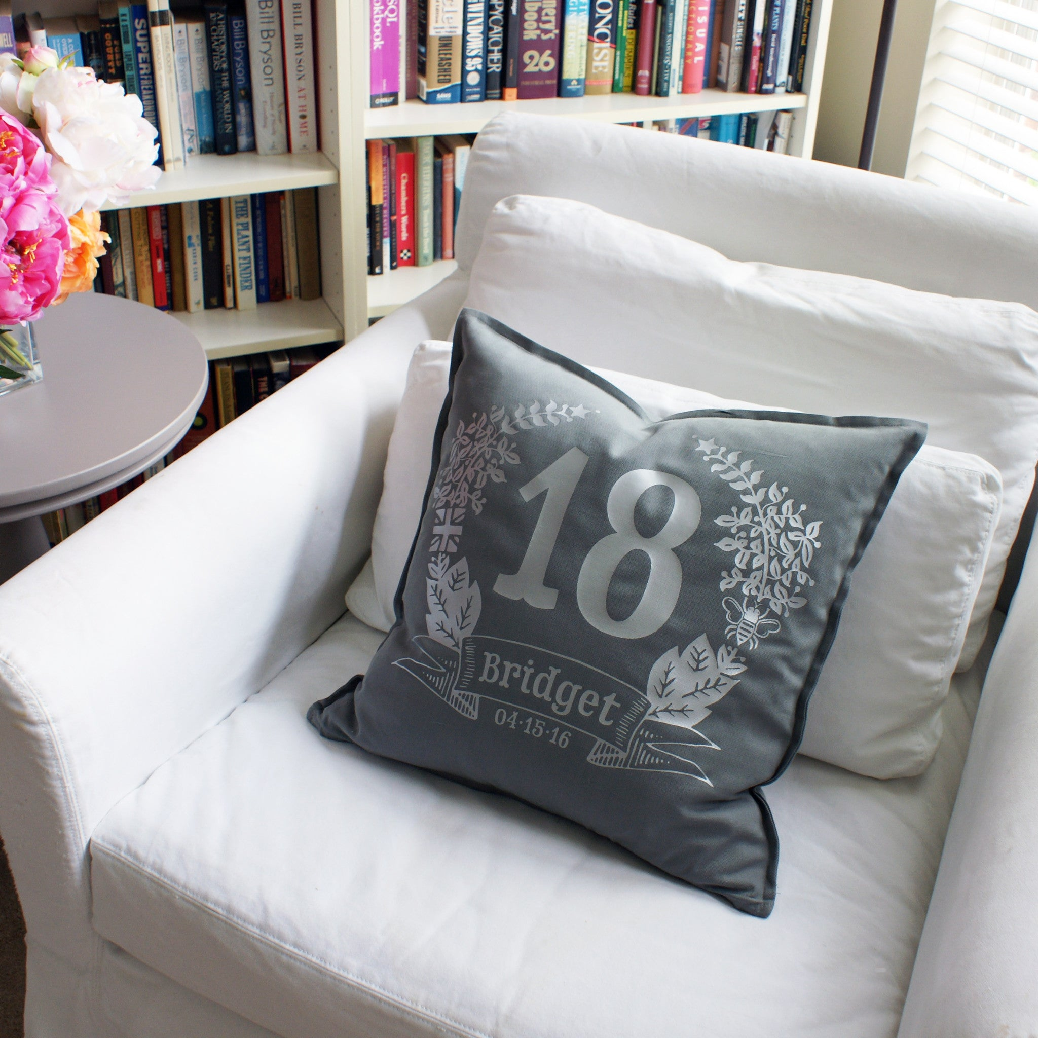 Brit and Bee Birthday Garland Throw Pillow - CHAIR