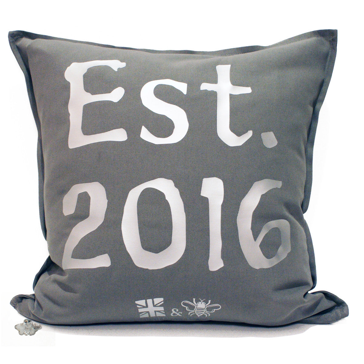 Brit and Bee Est. Throw Pillow Silver - BACK