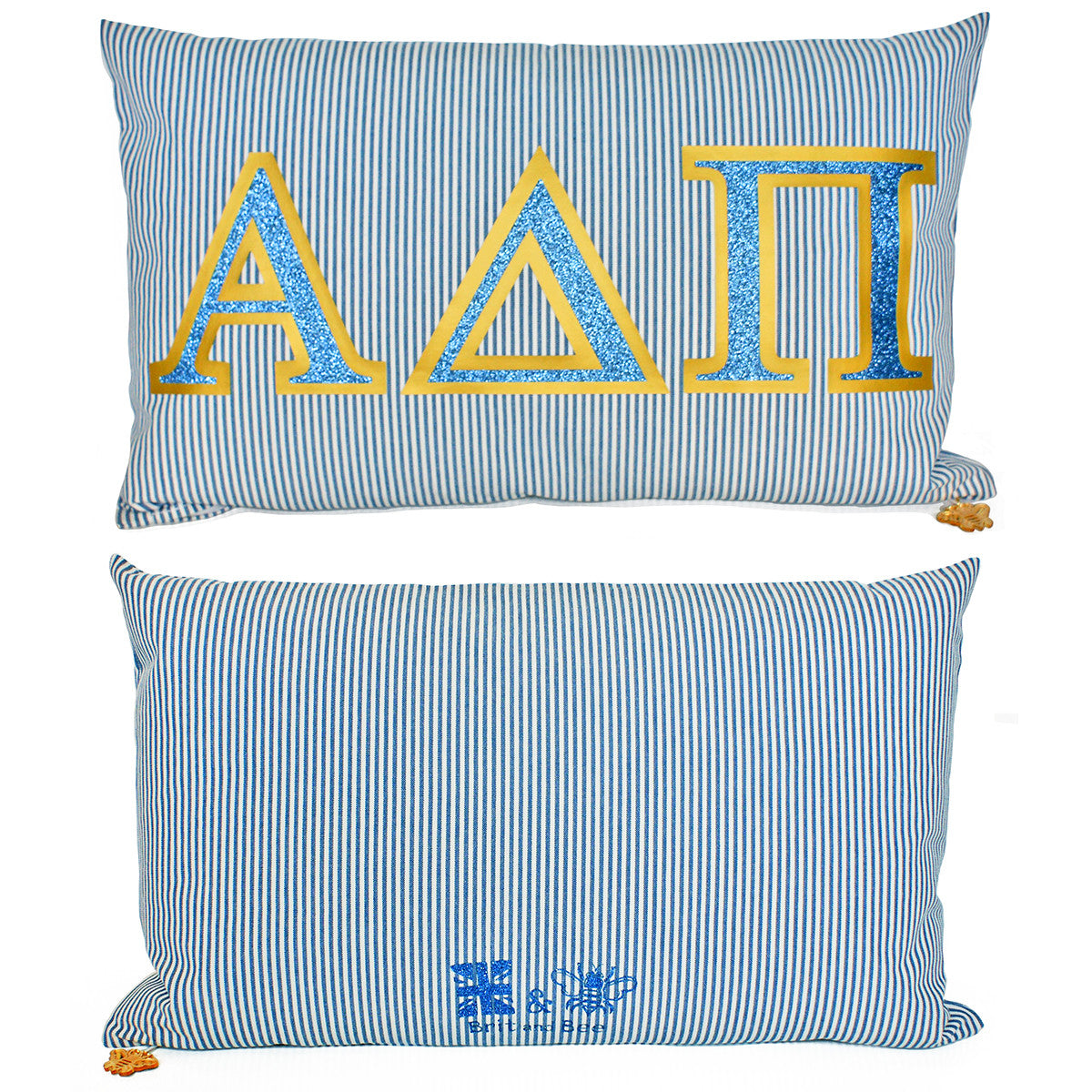 Brit and Bee Sorority Glitter Ticking Stripe Throw Pillow Alpha Delta Pi