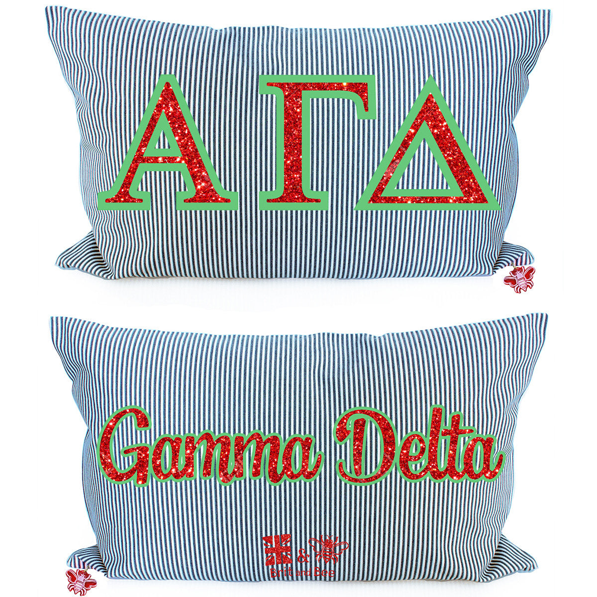 Brit and Bee Sorority Glitter Ticking Stripe Throw Pillow Alpha Gamma Delta
