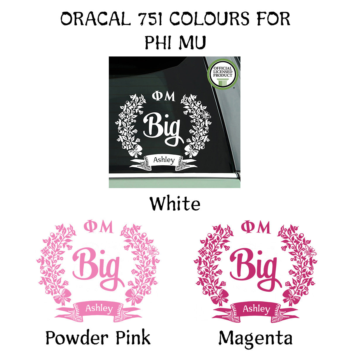 Brit and Bee Sorority Big Decal - Phi Mu