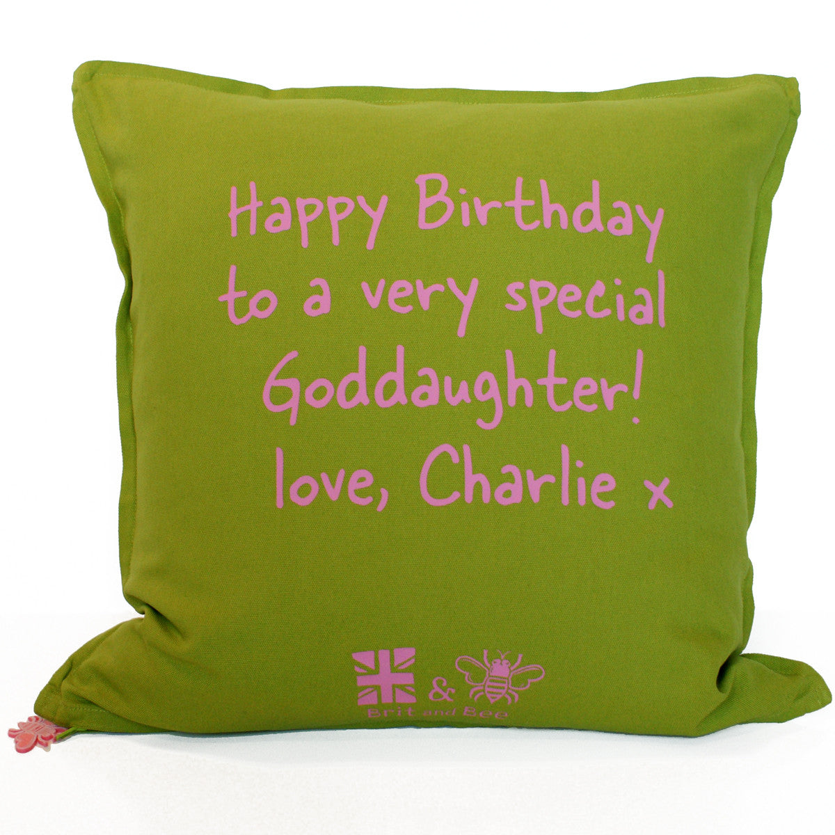 Brit and Bee Birthday Garland Throw Pillow - BACK