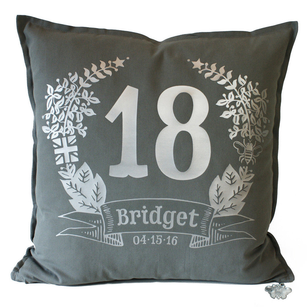 Brit and Bee Birthday Garland Throw Pillow - FRONT