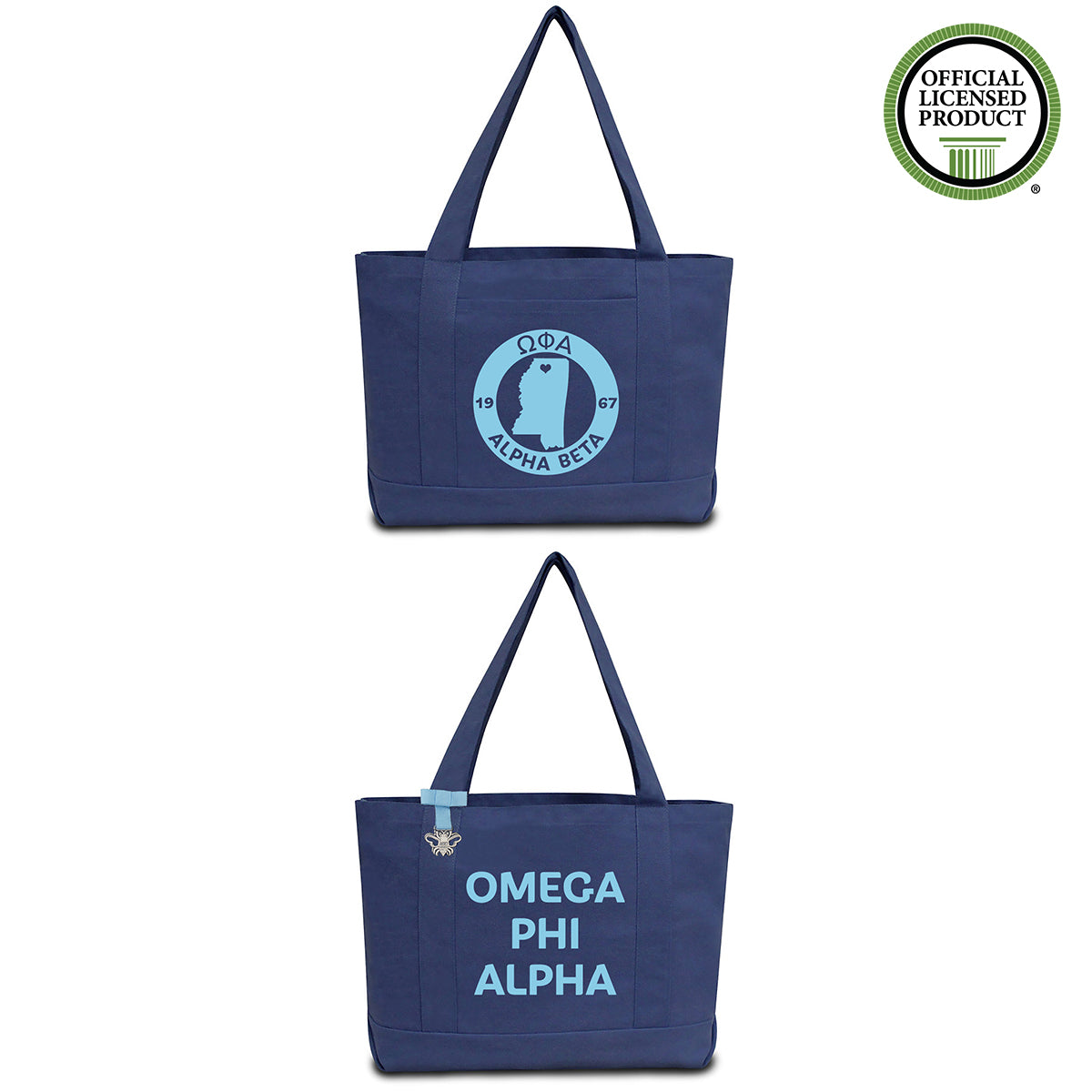 Omega Phi Alpha State Book Tote Bag | Brit and Bee