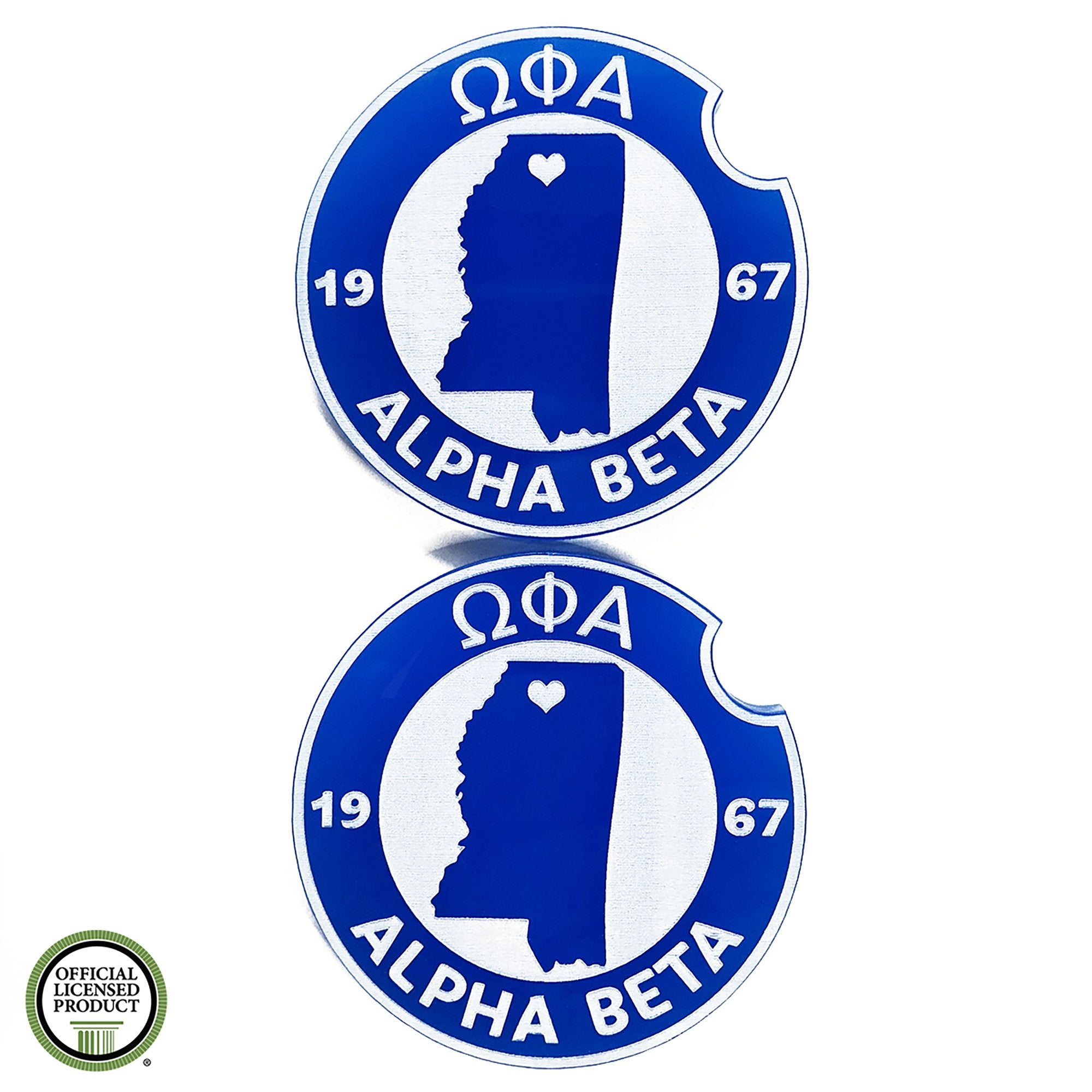 Omega Phi Alpha Car Coasters | Brit and Bee