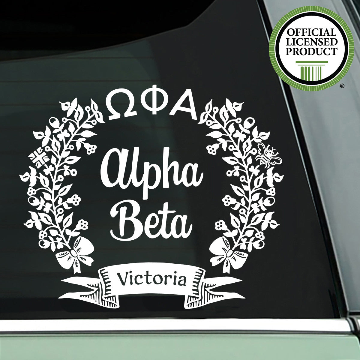 Brit and Bee Sorority Chapter Decal - Omega Phi Alpha