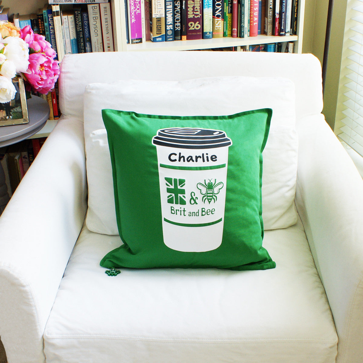 Brit and Bee Cuppa Throw Pillow CHAIR - Back