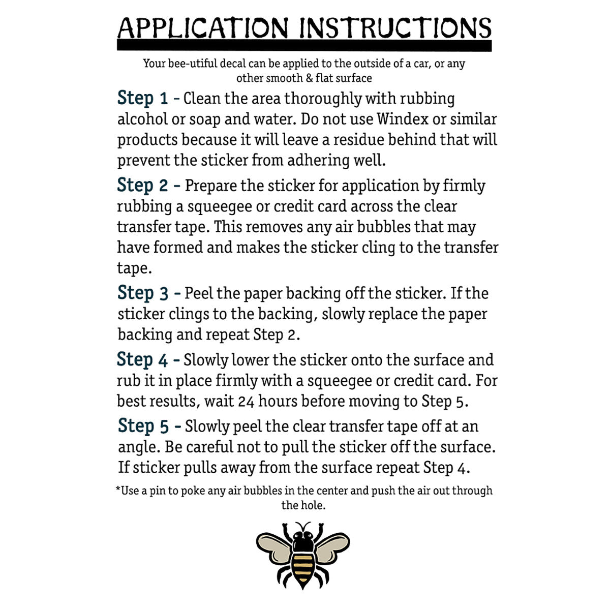 Brit and Bee decal application instructions