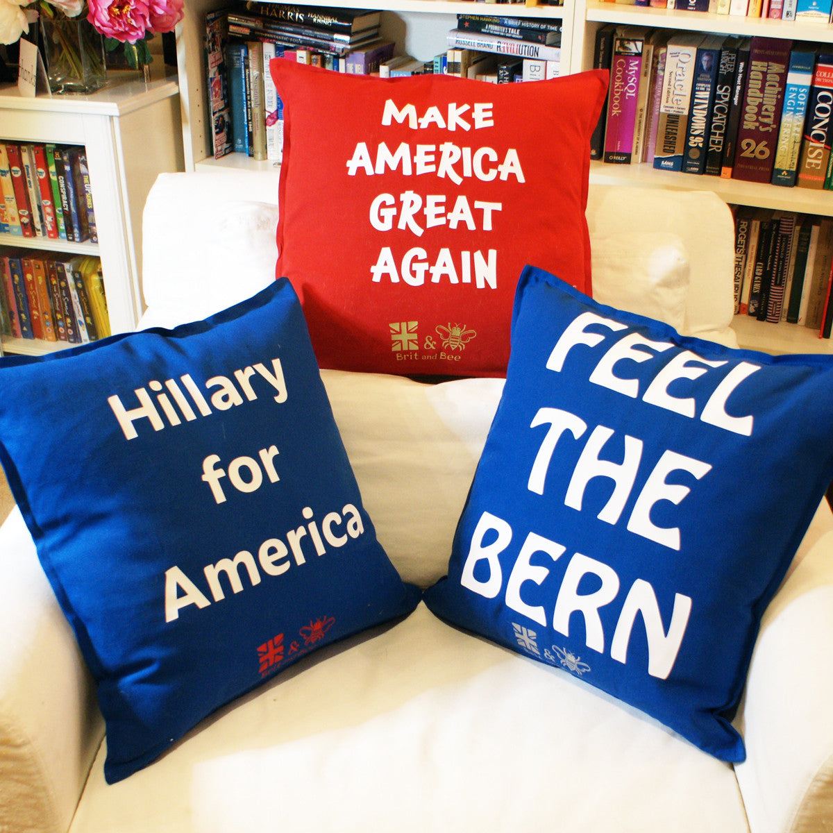 Brit and Bee Election Year Throw Pillows - Collection 2016 BACK