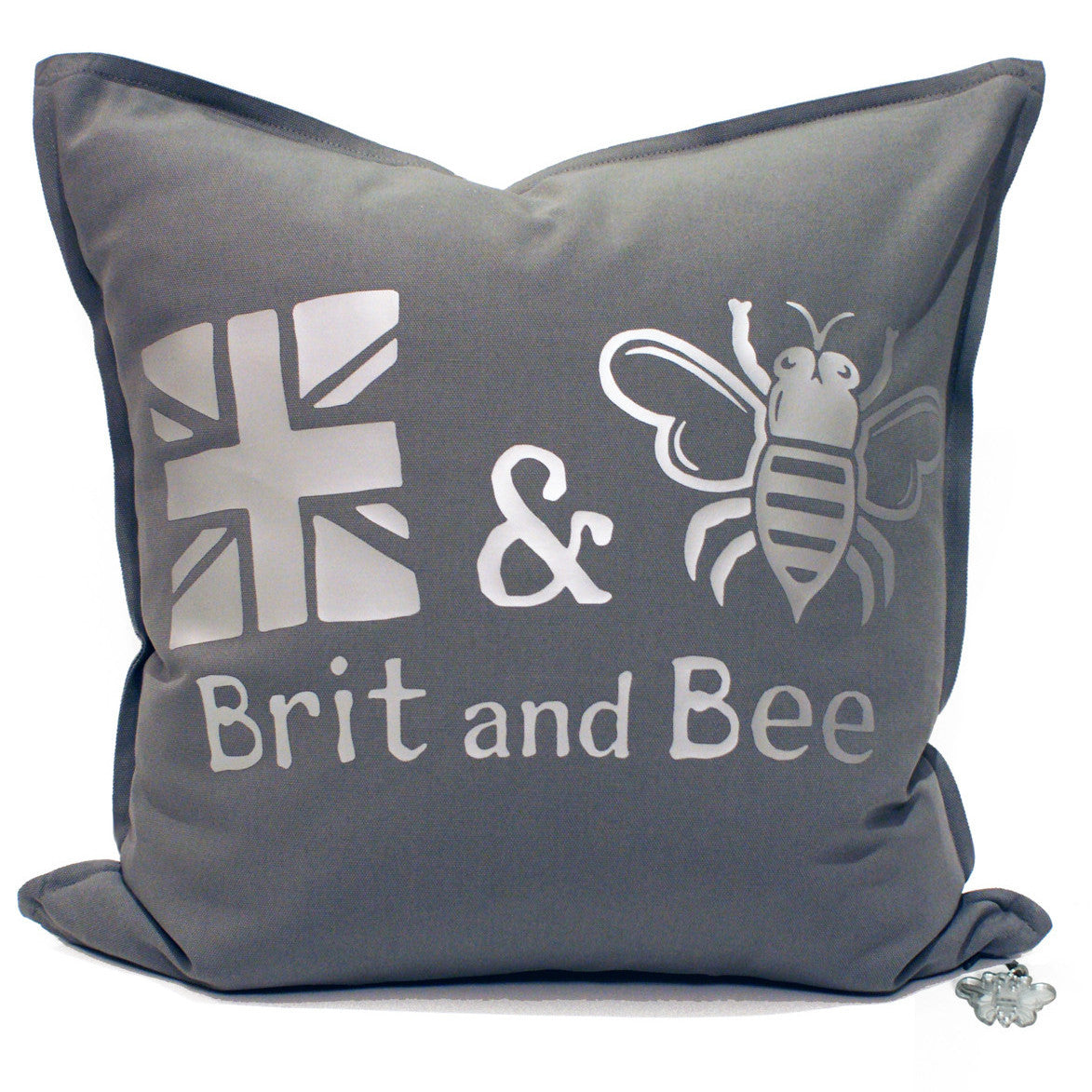 Brit and Bee Est. Throw Pillow Silver - FRONT