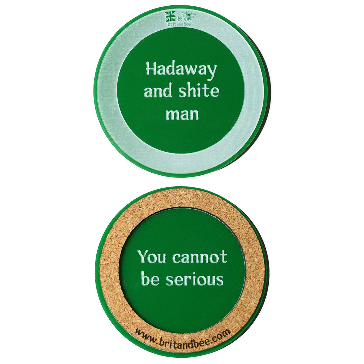 Brit and Bee Translation Coaster Set - Geordie and Mackem - GREEN