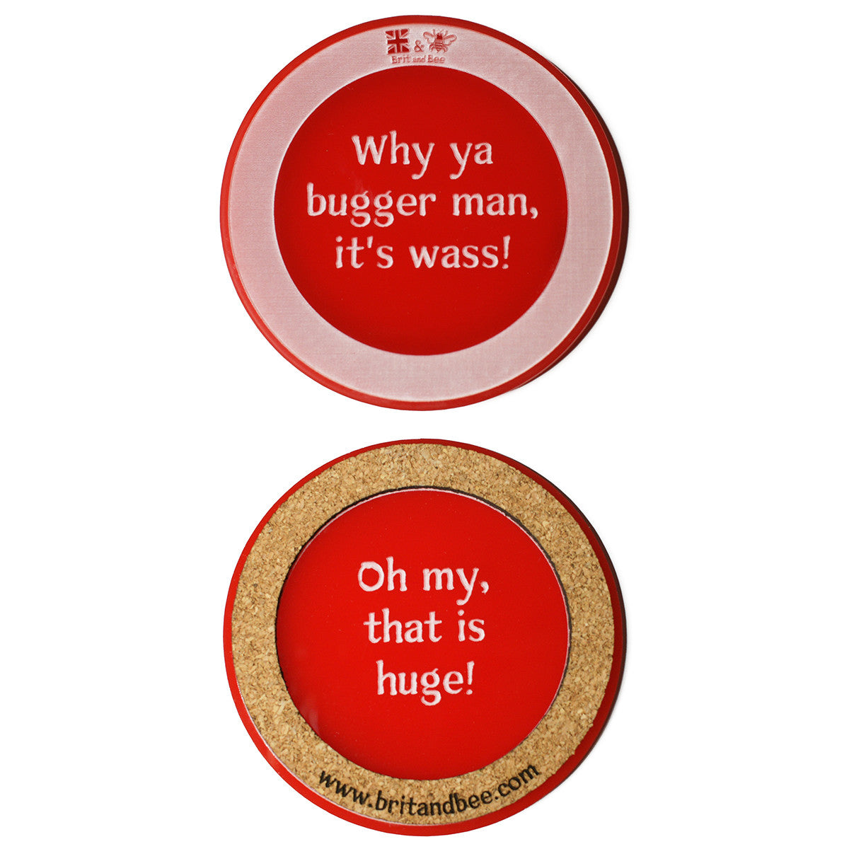 Brit and Bee Translation Coaster Set - Geordie and Mackem - RED
