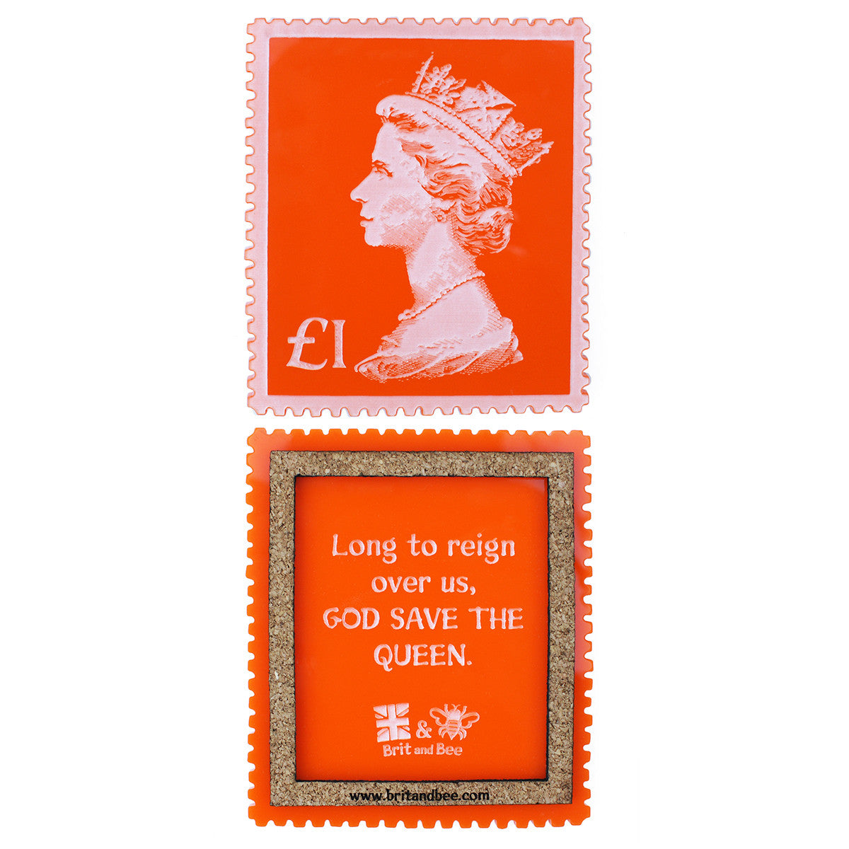 Brit and Bee British Stamp Coaster Set - God Save The Queen