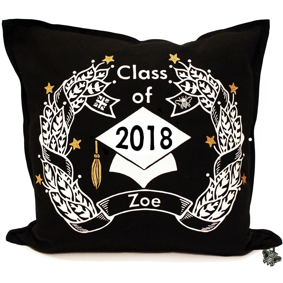Brit and Bee Graduation Garland Throw Pillow - FRONT