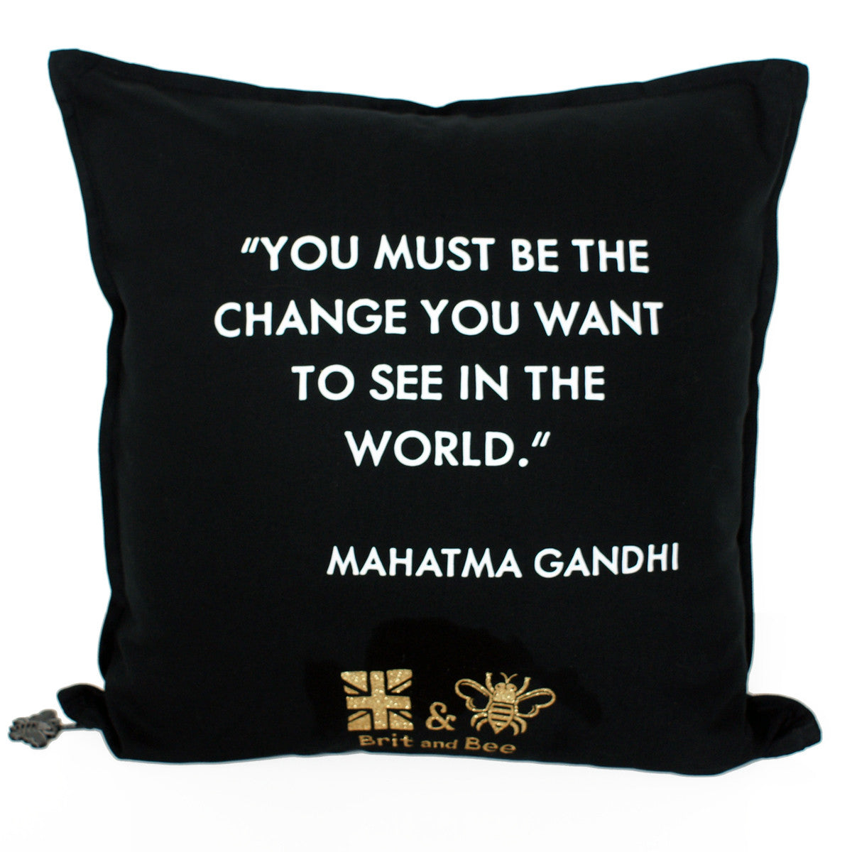 Brit and Bee Graduation Garland Throw Pillow BACK - Ghandi