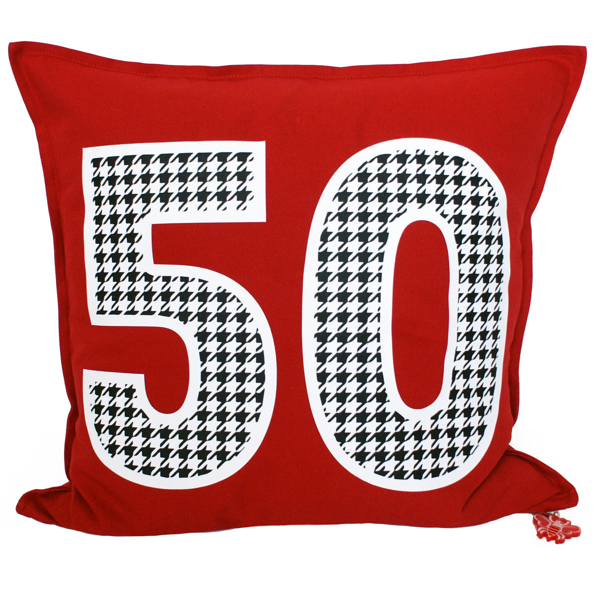 Brit and Bee Houndstooth Number Throw Pillow FRONT