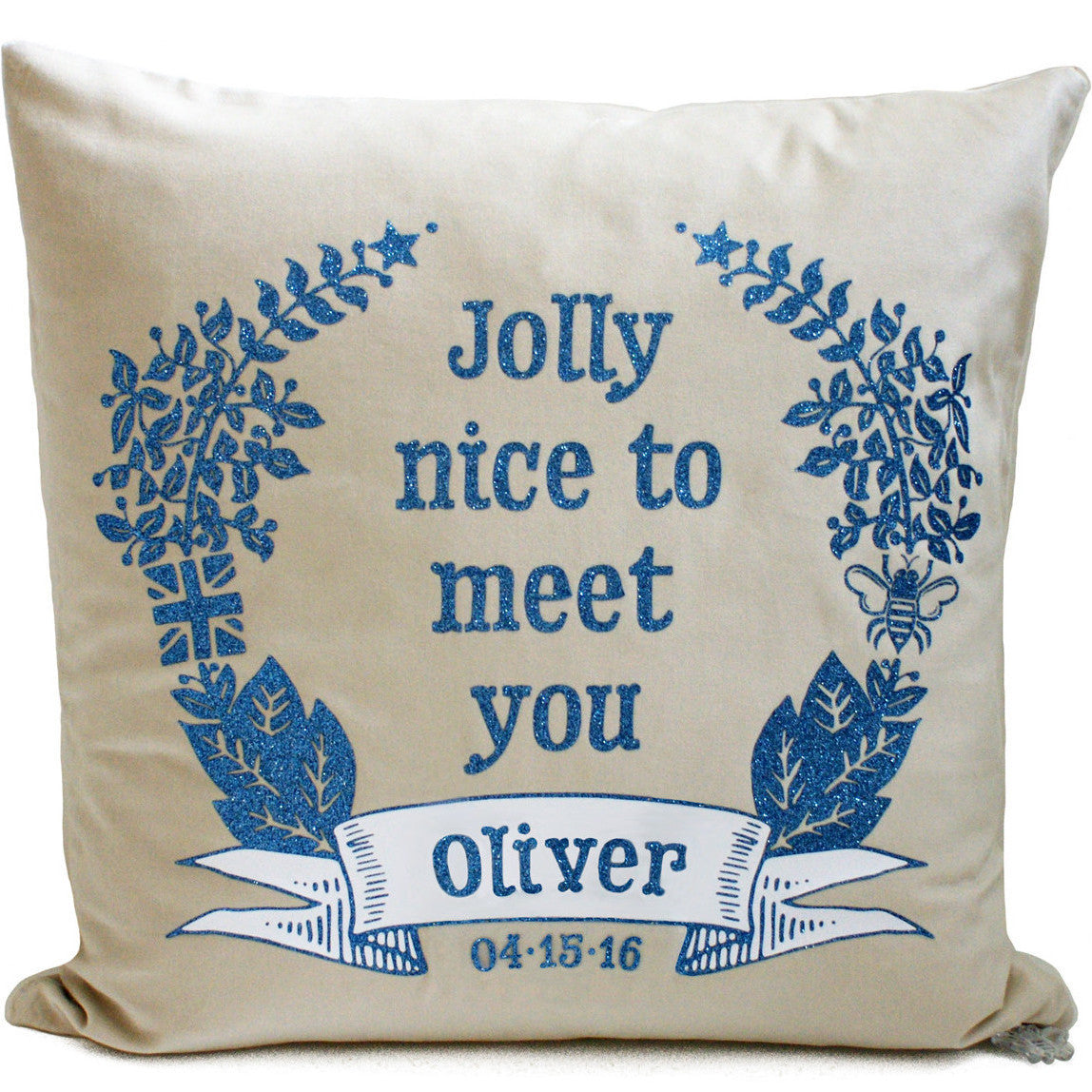 Brit and Bee Jolly Nice Glitter Throw Pillow FRONT