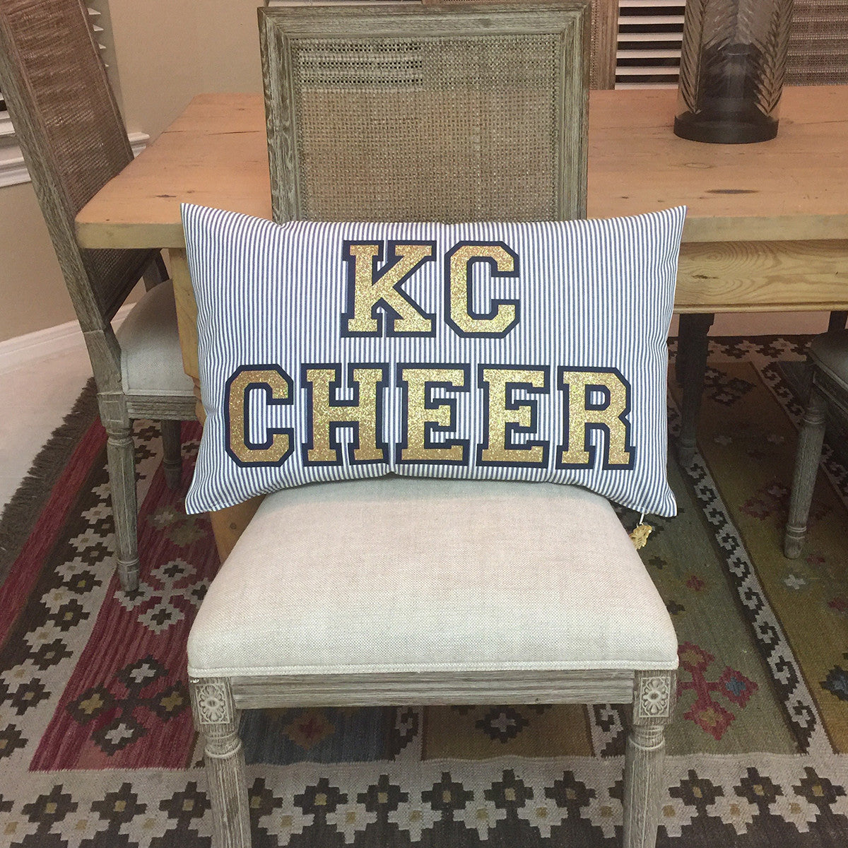 Brit and Bee Glitter Ticking Stripe Cushion - KC Cheer
